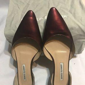 Manolo Blahnik Wine Color Pantene Leather Flat